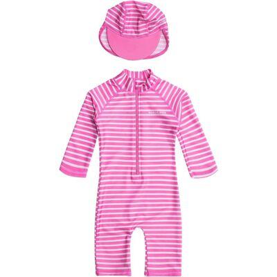 Nordbjørn Vrångö UV-Dragt & Hat, Pink Stripe 110-116 - Børnetøj - Nordbjørn