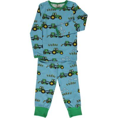 Småfolk Traktor Pyjamas, Blue Grotto, 3-4 År - Børnetøj - Småfolk