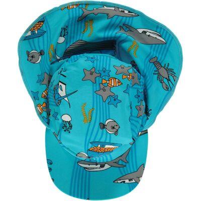 Småfolk Havet UV50+ Solhat, Blue Atoll S - Børnetøj - Småfolk