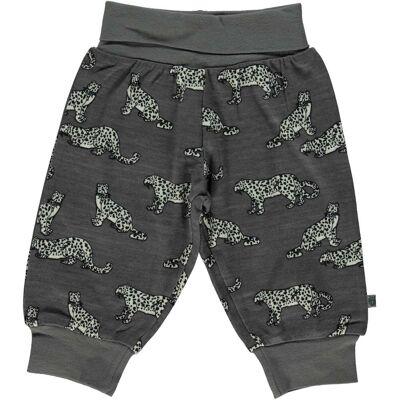 Småfolk Leopard Bukser, Steel Grey 80 - Børnetøj - Småfolk