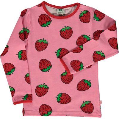 Småfolk Jordbær T-Shirt, Sea Pink, 7-8 År - Børnetøj - Småfolk