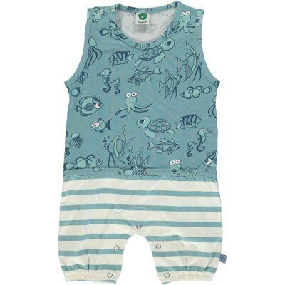 Småfolk Heldragt Fisk, Stone Blue 56 - Børnetøj - Småfolk