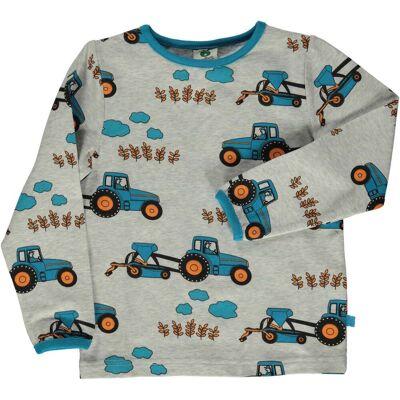 Småfolk Traktor T-Shirt, Lt. Grey Mix, 2-3 År - Børnetøj - Småfolk