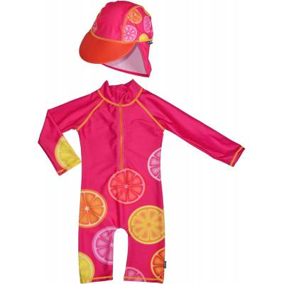 Swimpy UV-Dragt & Hat, Pink Lemon 98–104 - Børnetøj - Swimpy