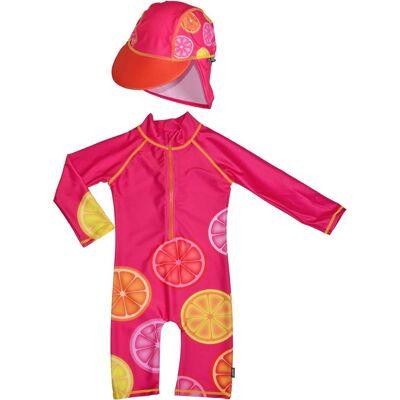 Swimpy UV-Dragt & Hat, Pink Lemon 98–104 - Børnetøj - Swimpy