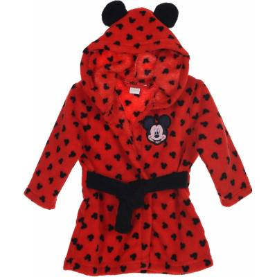 Disney Mickey Mouse Morgenkåbe Og Hjemmesko, Red 9-12mån - Børnetøj - Disney