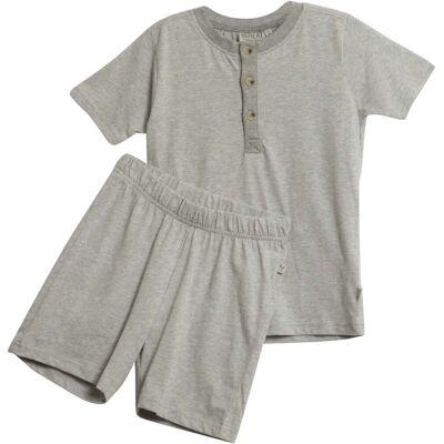Wheat Pyjamas Sæt, Melange Grey 128 - Børnetøj - Wheat