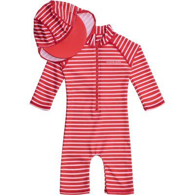 Nordbjørn Vrångö UV-Dragt & Hat, Red Stripe 134-140 - Børnetøj - Nordbjørn
