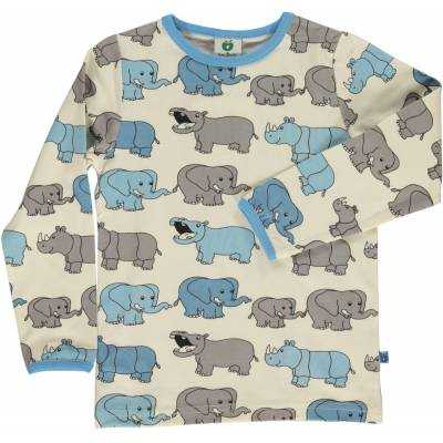 Småfolk Næsehorn & Elefant Trøje, Air Blue 7-8år - Børnetøj - Småfolk