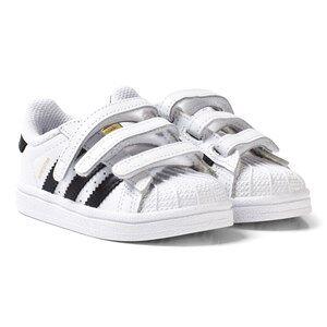 adidas Originals White and Black Superstar Infant Trainers 21 (UK 5)