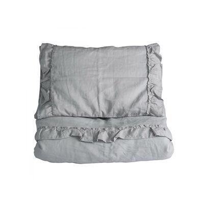 NG Baby 100x130 Mood Ruffles Junior Duvet Set Light Grey One Size - Børnetøj - NG Baby