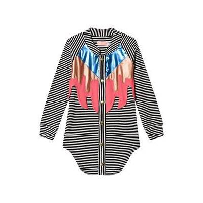 Wauw Capow Black and White Button Dress with Multicolor Flames 2-3 years - Børnetøj - Wauw Capow