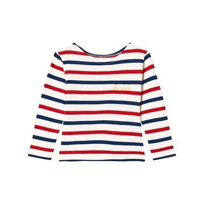 Maison Labiche Red, Blue and White Striped Dude Long Sleeve Tee 2 years - Børnetøj - Maison Labiche