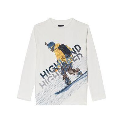 Mayoral White Highland Skier Print Long Sleeve Tee 18 years - Børnetøj - Mayoral