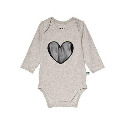 The BRAND Heart Baby Body Grey Melange 68/74 cm - Børnetøj - The BRAND