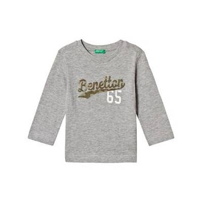 United Colors of Benetton Grey Embroidered Logo T-Shirt 6/7Y (S 120cm) - Børnetøj - United Colors of Benetton