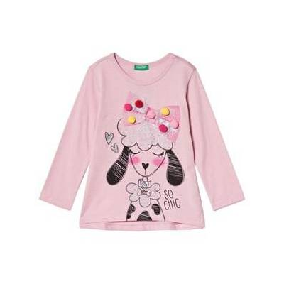 United Colors of Benetton Pink Hund Print T-Shirt 1Y (82cm) - Børnetøj - United Colors of Benetton
