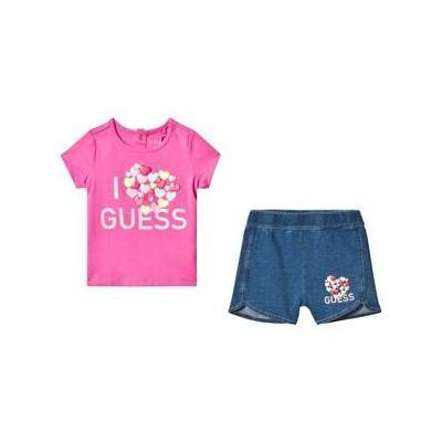Guess Pink Branded Tee and Shorts Set 18 months - Børnetøj - Guess