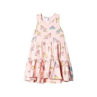 Hootkid Pink Multi Unicorn Tiered Dress 1 years - Børnetøj - Hootkid