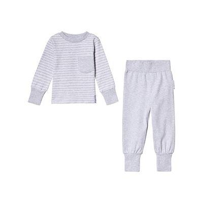 Geggamoja Classic Pajamas Light Grey Stripe 146/152 cm - Børnetøj - Geggamoja