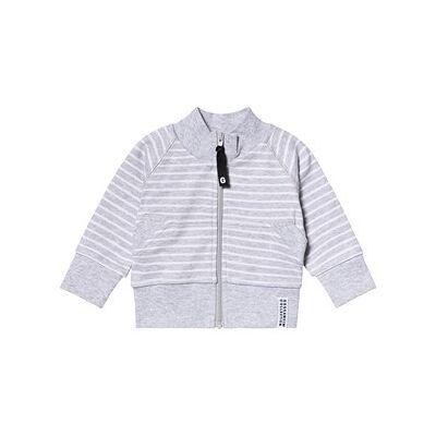 Geggamoja Classic Zip Jacket Light Grey Stripe 146/152 cm - Børnetøj - Geggamoja