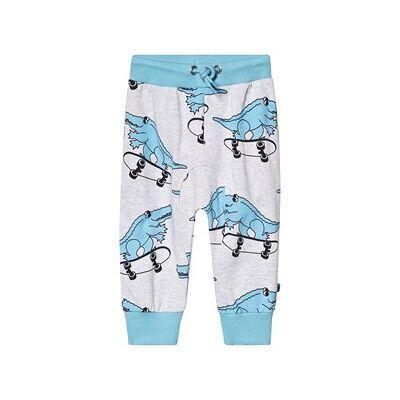 Småfolk Grey Multi Dino Print Sweatpants 80cm (12 months) - Børnetøj - Småfolk