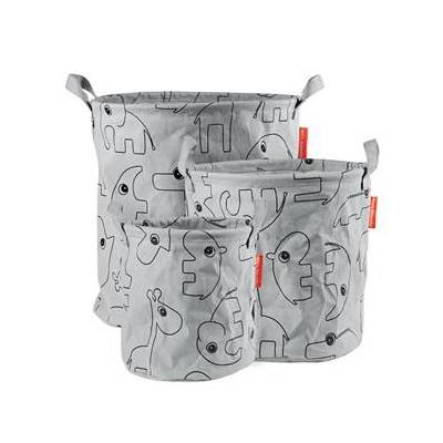 Done by Deer 3-Pack Soft Storage Baskets Grey One Size - Børnetøj - Done by Deer