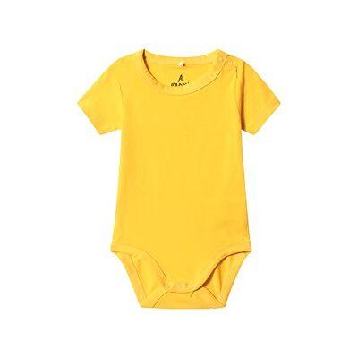 A Happy Brand Kortermet Baby Body Gul 62/68 cm - Børnetøj - A Happy Brand