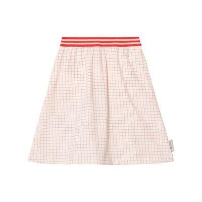 Tinycottons Grid Mid-Length Skirt Off-White/Carmine 2 år - Børnetøj - Tinycottons