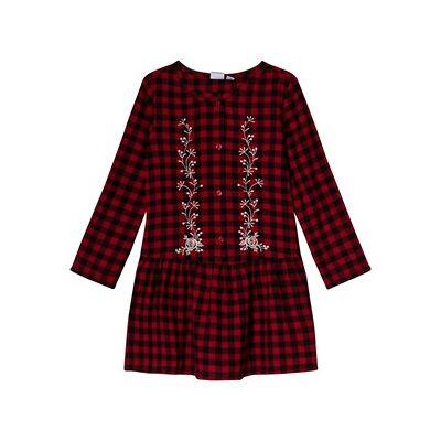 GAP Berry Red Plaid Embroidered Dress M (8-9 år) - Børnetøj - GAP