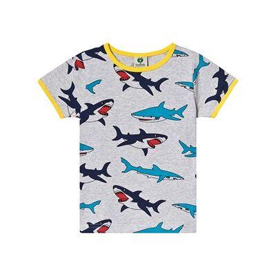 Småfolk T-shirt i grå med Hajprint 68cm (6 months) - Børnetøj - Småfolk