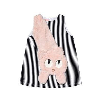 Wauw Capow Mitty Dress Black/White Stripes 3-4 år - Børnetøj - Wauw Capow