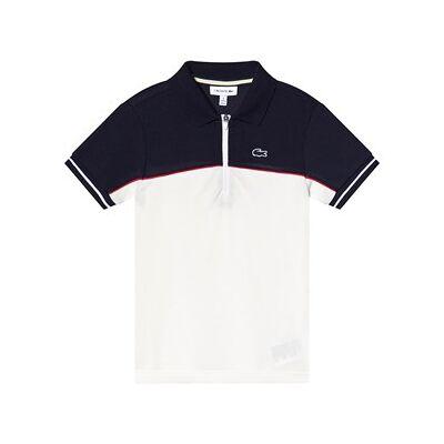 Lacoste Quarter Zip Polo Skjorte Hvid/Blåt 8 years - Børnetøj - Lacoste