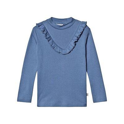 Wheat Rib Ruffle Long Sleeve T-Shirt Blå Horizon 152 cm (11-12 år) - Børnetøj - Wheat