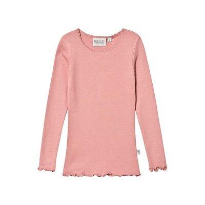 Wheat T-shirt Soft Rouge med Blonde Rib 62 cm (2-4 mdr) - Børnetøj - Wheat