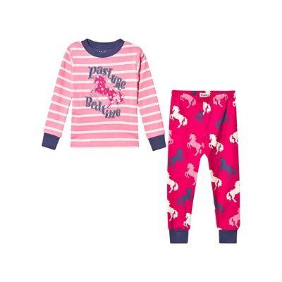 Hatley Økologisk Pyjamas Pink med Legende Heste Applikation 4 years - Børnetøj - Hatley