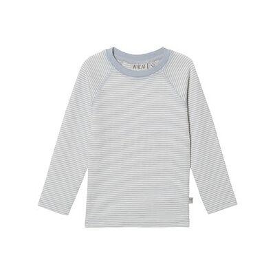Wheat Wool Tee Dusty Dove Stripes 116 cm (5-6 år) - Børnetøj - Wheat