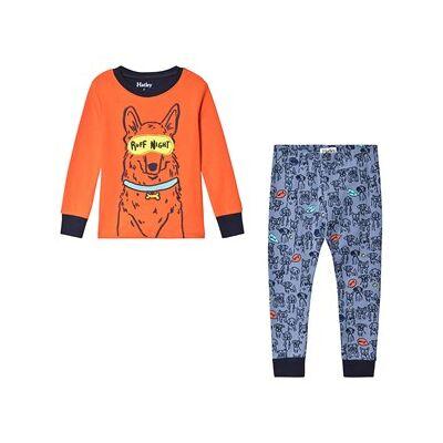 Hatley Puppy Pals Appliqué Pajamas Orange/Blue 6 years - Børnetøj - Hatley