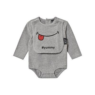 Yporqué Bib Baby Body Grey Melange 12 mdr - Børnetøj - Yporqué