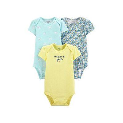 Carter's Blomstrede Original Baby Bodyer Gul/Blå Pakke med 3 stk. 24 mdr - Børnetøj - Carter's