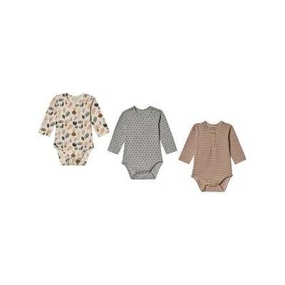 Hust&Claire; Base Baby Body Three-Pack Wheat 56 cm (1-2 mdr) - Børnetøj - Hust&Claire