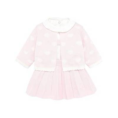 Mayoral 3-Piece Cardigan, Top and Pleated Skirt Pink 1-2 months - Børnetøj - Mayoral