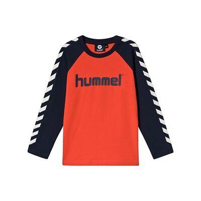 Hummel Logo Langærmet T-Shirt Sort Iris og Tangerine Tango 104 cm (3-4 år) - Børnetøj - Hummel