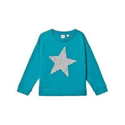 GAP Flip Sequins Dolman Sweatshirt Ny Bright Sea L (10-11 år) - Børnetøj - GAP
