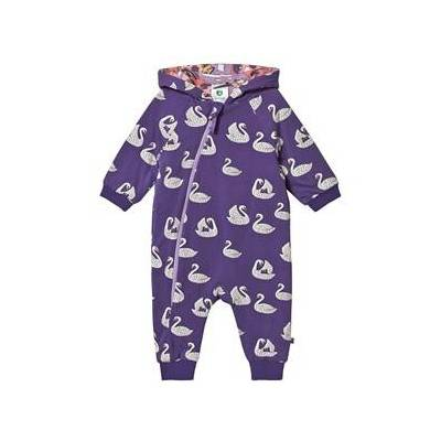 Småfolk Swan Reversible Onesie Imperial Purple 68cm (6 months) - Børnetøj - Småfolk