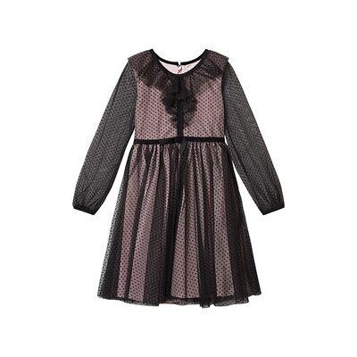 Mayoral Polka Dot Layered Dress Black/Pink 8 years - Børnetøj - Mayoral