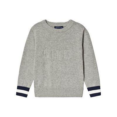 Andy & Evan Wild One Slogan Knitted Sweatshirt Grey 5 years - Børnetøj - Andy & Evan