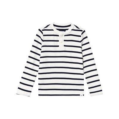 GAP Henley Texture Sweater New Off White Stripe S (6-7 år) - Børnetøj - GAP