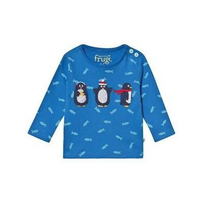 Frugi Økologisk Top Blå med Pingvin og Fisk 18-24 months - Børnetøj - Frugi