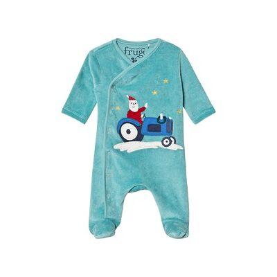 Frugi Økologisk Velour Baby Bodysuit med Julemandsapplikation Blå 18-24 months - Børnetøj - Frugi
